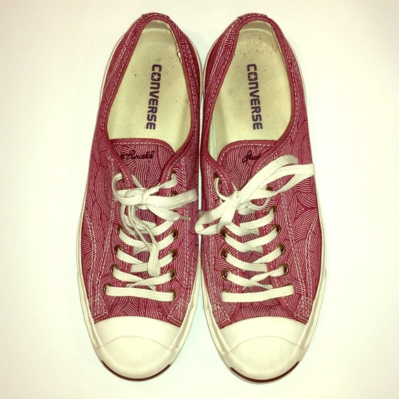 Converse Jack Purcell red canvas swirl sneakers